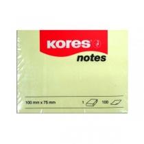Стікери Kores, 75х100, світло-жовті, 100 арк.