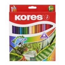 Олівці кольорові акварельні, трикутні, 3 мм, з чинкою та пензликом, 24шт.