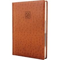 Щоденник датований 2021, OSTRICH, коричневий, кремовий блок, А5