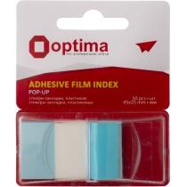 Стікери-закладки Optima, 45х25, блакитні, 50 шт.