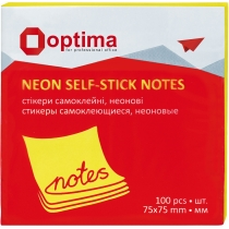 Стікери Optima, 75x75, жовті неон , 100 арк.