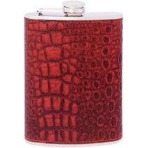 Фляга з нержавіючої сталі, 240мл, покриття -шкірзамінник, імітація зміїної шкіри, колір червоний