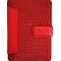 Бізнес-організатор з вставками зі штучної шкіри, 135 *185 мм, на кільцях, червоний, папір 80 г/м2, к