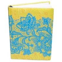 """Щоденник недатований, А5,""""Мереживо"""", білий блок, 3 кольори, жовтий з блакитними квітами"""