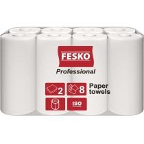 Рушники паперові 2 шари Fesko Professional, 8 рулонів, по 12,5 м, білі