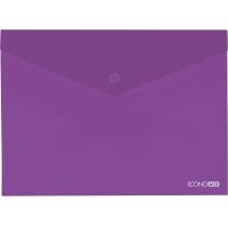 Папка-конверт А4 прозора на кнопці, фіолетова