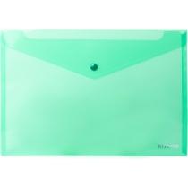 Папка-конверт А4 прозора на кнопці, зелена