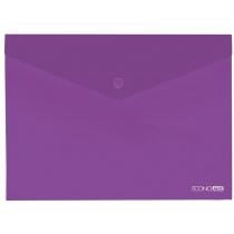 Папка-конверт В5 прозора на кнопці, фіолетова(Е31302-12)