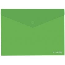 Папка-конверт В5 прозора на кнопці, зелена(Е31302-04)