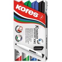 Набір маркерів для білих дошок KORES 1-3 мм, 4 кольори в блістері