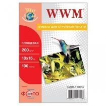 Фотопапір WWM 10x15см, глянцевий, 200 г/м2, 100 арк.