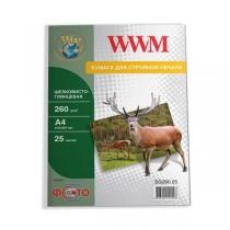 Фотопапір WWM A4, глянцевий шелковистая, 260 г/м2, 25 арк.