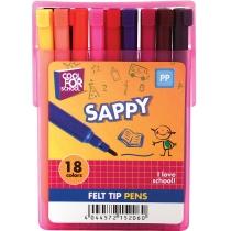 Набір фломастерів SAPPY в слайдер-пеналі, 18 кольорів, лінія 2 мм