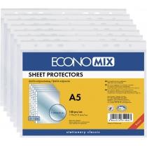 """Файл для документів А5 Economix, 30 мкм, фактура """"глянець"""" (100 шт/уп)"""