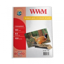 Фотопапір WWM A4, глянцевий, 180 г/м2, 100 арк.