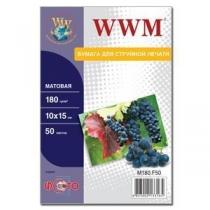 Фотопапір WWM 10x15см, матовий, 180 г/м2, 50 арк.
