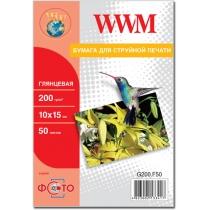 Фотопапір WWM 10x15см, 200г/м2, глянцевий, 50 арк.