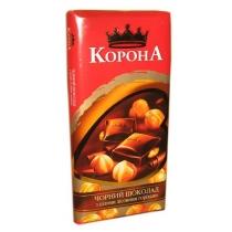 Шоколад Корона чорний з цілими лісовими горіхами 90 г
