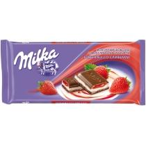 Шоколад Milka з начинкою крем-полуниця 90 г