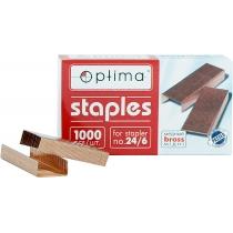 Скоби для степлерів Optima, №24/6, 1000 шт, мідні