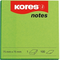 Стікери Kores, 75х75, зелені, 100арк.
