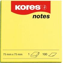 Стікери Kores, 75х75, жовті, 100арк.