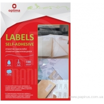 Етикетки самоклеючі, білі, А4, 100 арк/пач, на аркуші 24шт. ( O25115 )