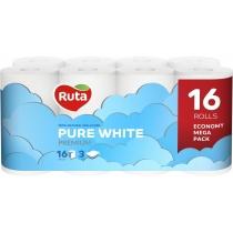 Папір туалетний 3 шари Ruta Pure White 16 рулонів, білий