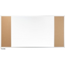 Дошка настінна три секції з комбінованою поверхнею маркер/корок 150 x 100 см