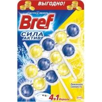 Засіб для догляду за унітазами Bref сила актив Лимонна свіжість Тріопак 3 Х 50 гр
