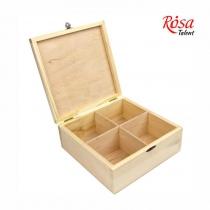 Скринька дерев'яна з замком, 4 секції, 20х20х8см, ROSA TALENT