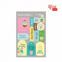 """Висічки для скрапбукінгу, самоклеючі """"Cake delicious"""" 1, картон, 12,8х20см, ROSA TALENT"""