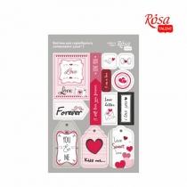 """Висічки для скрапбукінгу, самоклеючі """"Love"""" 1, картон, 12,8х20см, ROSA TALENT"""