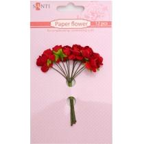 Набір квітів паперових червоних, 12 шт