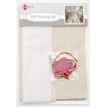 Набір для упаковки подарунка, 40 * 55см, 2шт / уп., Біло-золотий