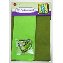 Набір для упаковки подарунка, 40 * 55см, 2шт / уп., Зелений-хакі