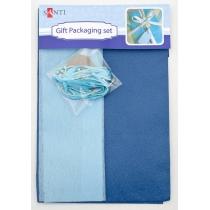 Набір для упаковки подарунка, 40 * 55см, 2шт / уп., Синьо-сірий
