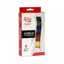 Набір акрилових фарб, ROSA Studio, 6*20мл