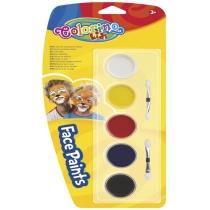 Фарби для обличчя, 5 кольорів, з двома пензликами