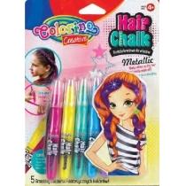 Металізована крейда для волосся у формі олівців з гребінцем, 5 кольорів