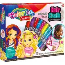 Подарунковий набір для декору волосся - металізована крейда для волосся у формі олівців, 10 кольорів