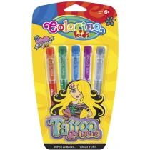 Гелеві ручки-тату з трафаретами в блістері, 5 кольорів