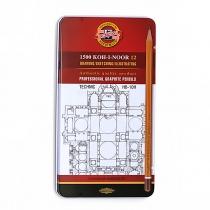 Набір олівців чорнографітних KOH-I-NOOR TECHNIC HB-10H 12 шт. в мет пеналі