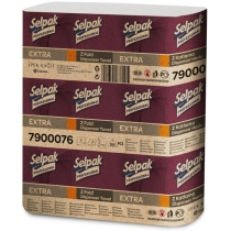 Рушники паперові 2 шари SELPAK Extra ZZ-складання 200 аркушів в упаковці, білі