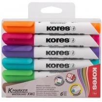 Набір маркерів для білих дошок KORES 2-3 мм, 6 кольорів в блістері