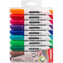 Набір маркерів для білих дошок KORES 2-3 мм, 10 кольорів в блістері