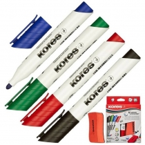 Набір маркерів з губкою для білих дошок KORES 2-3 мм, 4 кольори в блістері