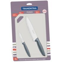 Набори ножів TRAMONTINA PLENUS grey н-р 3пр (ніж 76,178мм, плас.дост) інд.бл