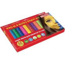 Набір фарб для обличчя та тіла у формі олівця, 12 кольорів