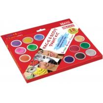 Набір фарб для обличчя та тіла, 18 кольорів з 2 пензликами та спончем